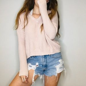 Brandy Melville Blush Pink v neck crop sweater